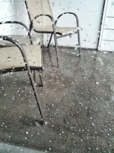 hail on our porch